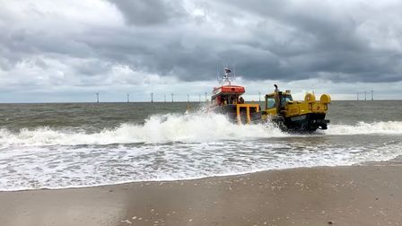 The launch of the Bernard Matthews II to honour former Caister Lifeboat coxswain Benny Read
