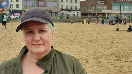 Belinda... on the beach at Margate, hoping to make it an annual beano