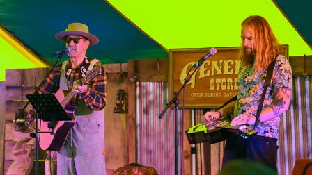 Hank Wangford and Noel Dashwood performing on the Jeremiah Marques Stage at Maui Waui Festival. Pict