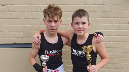 Jayden Slade on the left with the winning debutant Ollie Warner on the right