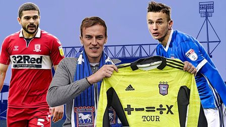 Christian Walton, centre, has signed for Ipswich Town. Sam Morsy, left, and Bersant Celina, right, have also been linked