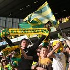 Norwich City fans standing in Lower Barclay Stand.