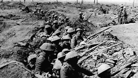 Photo dated 01/07/1916 of British soldiers from 331 Infantry waiting to advance on the first day of