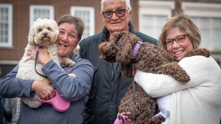 Janet Scoulding, Steve Palmer and Sarah Scoulding with dogs Lucy and Milly. Picture: Sarah Lucy Bro