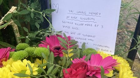 Floral tributes to Ruby