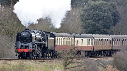 The Black Prince travelling on the North Norfolk Railway poppy line before Weybourne. Picture: Mark