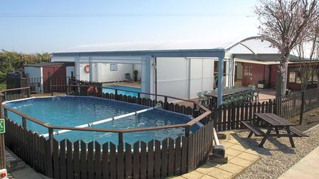 The outdoor swimming pool at Croft Country Club near Wisbech.