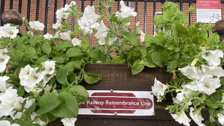 A planter dedicated to remembrance created by Ely station staff.