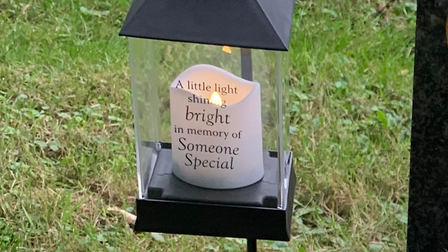 The lantern which Megan Brown placed at her brother's grave.