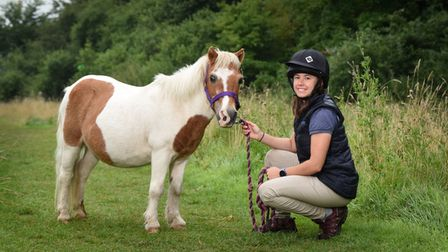 Bamboo the 50-year-old Shetland pony with one of his vets