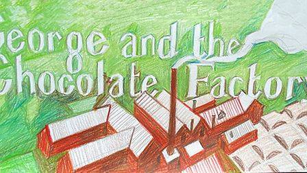 Handwritten text George and the Chocolate Factory hand drawn factory merging into chocolate bar