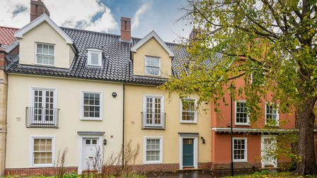 Row of pastel coloured modern terraces in St Miles Alley, Norwich, with wet cobblestones out front and leafy trees opposite