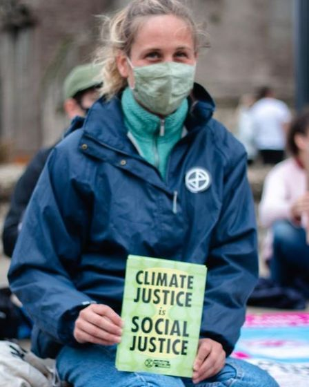 Members of the Ely Extinction Rebellion group gathered near the city's cathedral to protest