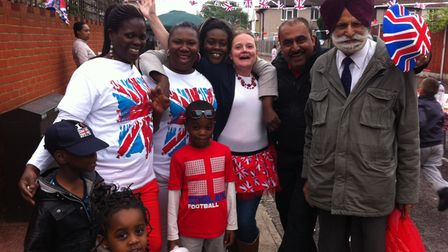 Residents with Cllr Inder Singh Jamu at the Ryland Estate party