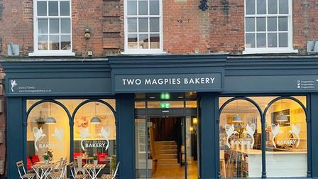 The frontage of the Two Magpies Bakery which opened in Holt in September 2021