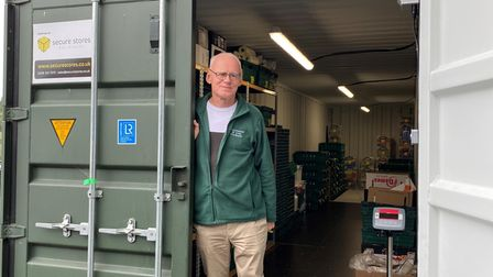 Mike Smith, who runs Stowmarket and Area Foodbank, with the new container
