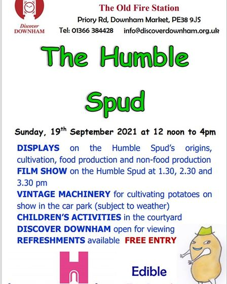 The Humble Spud event is taking place at Discover Downham on Priory Road on September 19.