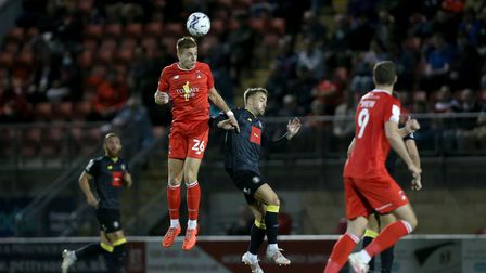 Hector Kyprianou of Orient and Alex Pattison of Harrogate during Leyton Orient vs Harrogate Town, Sk