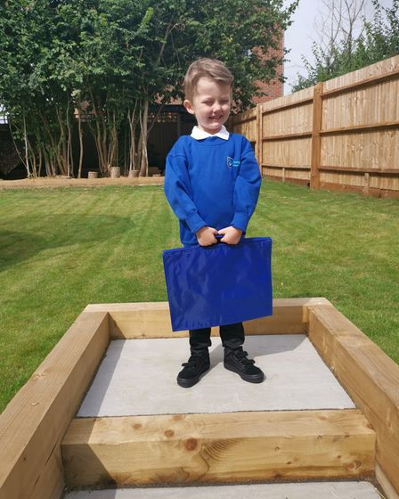 Austin Kirkpatrick, four, who has started at Westgate Community Primary School in Bury St Edmunds.