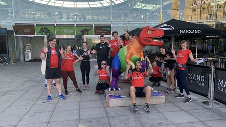 Members of GoodGym Norwich have cleaned the GoGo T-rexes around the city