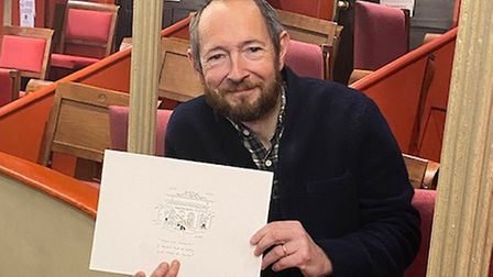 Cartoonist Matt Pritchett with his original work on the Theatre Royal, which will be auctioned off at an evening with him