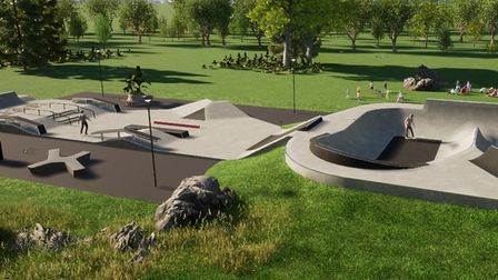 What North Walsham's new Trackside Park skatepark will look like.