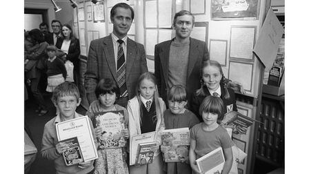 A presentation by a bank in Saxmundham to primary school essay winners in September 1983.