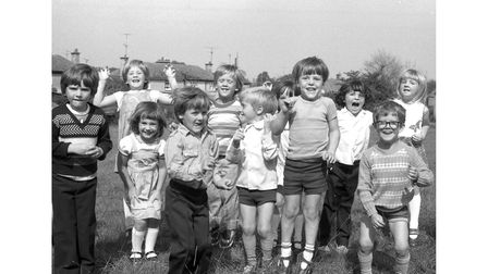 First-day pupils at Combs Primary School, Stowmarket, in September 1980.