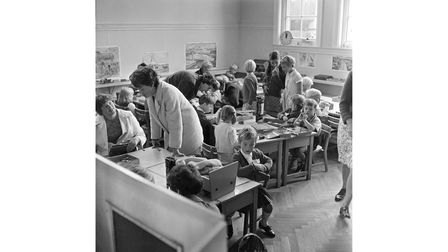 Britannia Road Infants School in Ipswich, welcoming pupils on their first day in September 1969