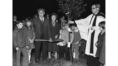 A tree-planting ceremony to mark Kersey School's centenary year in September 1973