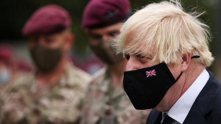 Prime Minister Boris Johnson during a visit to Merville Barracks in Colchester, Essex, to meet membe