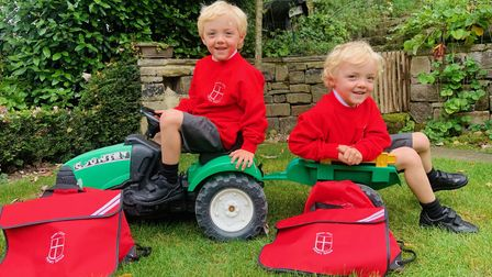 Children are returning to school this week, and for some, like Fin and Ren (pictured), it has been their very first day.