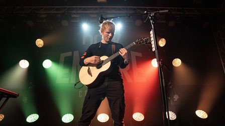 Handout photo dated 25/08/21 of Ed Sheeran performing at the hmv Empire, Coventry, for hmv's 100th b