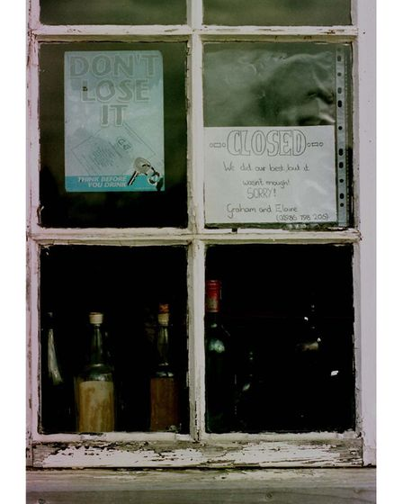 OUT OF TIME: THE SIGN TO CUSTOMERS AT THE CRATFIELD POACHER. PICTURE: RICHARD RACKHAM.