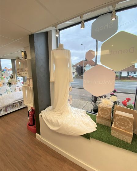 The wedding dress displayed at the Heath Road hospice shop in Ipswich