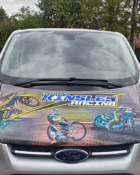 Norfolk racerRyan Kinsley's van, which was stolen it was parked outside a hotel inMiddlesbrough.