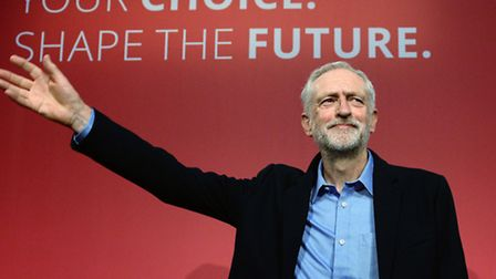 Jeremy Corbyn celebrates becoming leader of the Labour Party. Photo: Stefan Rousseau/PA.