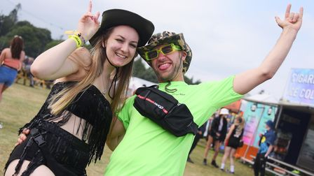 Festival goers enjoying the Sundown Festival. Sophie Brown and Reece Harper from Norwich. Picture: D