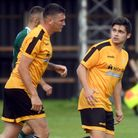 Craig Gillies and Jack Friend in action for March Town