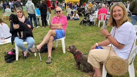 Quentin and Bev Rigby with Denise Mcgreevy. Holkham food and drink festival 2021 PIcture VICTORIA P