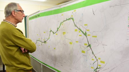 David Lord of Taverham, studies the plans for the Norwich Northern Distributor Road (NDR) at Taverha