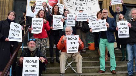 Protesters at Norwich City Hall against council borrowing money to pay for the NDR. Picture: DENISE