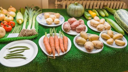 Vegetables on a table - carrots, beans, leeks, potatoes, onions, butternut squash, squashes, Great Dunmow, Essex