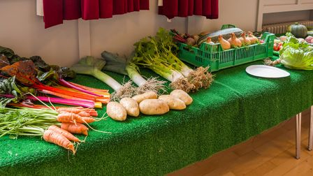 Produce at the Autumn Exhibition of Dunmow Horticultural Society in Foakes Hall, Great Dunmow, Essex