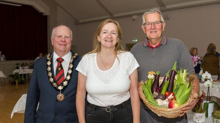 Great Dunmow Town Council mayor Patrick Lavelle with Amanda Perry and David Beedle, Great Dunmow, Essex