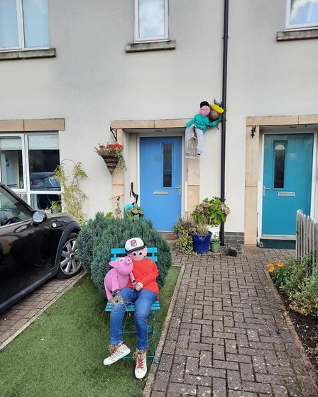 Sian Adomeit took part in the Mepal scarecrow festival this year for her young children. The scarecrows are of them.
