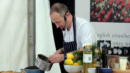 A chef demonstration at Aldeburgh Food and Drink Festival