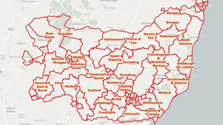 Boundary changes in Suffolk by council division