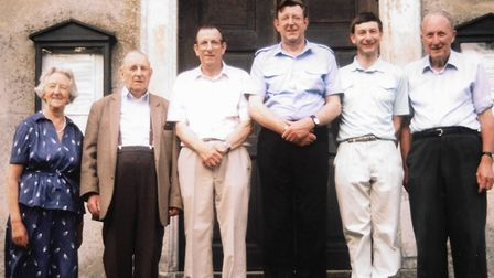 Paul Stannard, his father Jim and uncles Charlie and Dick at Euston Church in 1991, accompanied byWinifred and Henry Ivings