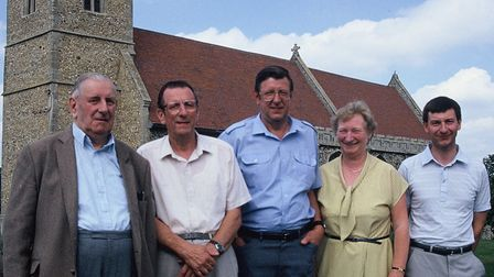 Paul Stannard with his Uncle Charlie,parents Jim and Janet, andUncle Dick outside Fornham All Saints Church
